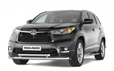 Защита переднего бампера двойная d51/63мм Toyota Highlander (нерж) 2014